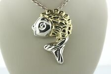 Sterling Silver 925 TV-55 Mexico Fish Brass Scales Pendant Brooch Pin
