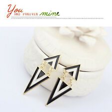 New Fashion Punk Vintage Cute Enamel Geometric Triangle Dangle Ear Stud Earrings