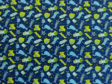 MONSTERS MONSTER BLUE CHILDRENS COTTON JERSEY STRETCH DRESS WIDE NURSERY FABRIC