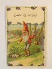 Antique Easter postcard, Leprechaun, Easter eggs, 1908