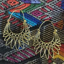 Tribal Pointed Sun And Hearts Hoop Earrings in Brass