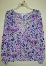 AMBIANCE APPAREL Floral Multi-Color Open Back Thin Blouse Women Size Large