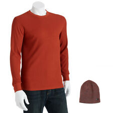 Levis T-Shirt & Beanie Combo Mens Crewneck Long Sleeve Thermal Tee & Ski Hat Set
