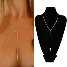 Retro Women Crystal Turquoise Feather Gold Chain Choker Statement Bib Necklace