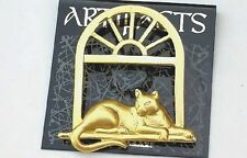 Kitty Cat laying on Ledge in a Arch Window Sign JJ Jonette Jewelry Pin