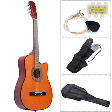 New Beginners Acoustic Guitar With Guitar Case, Strap, Tuner and Pick Brown