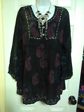 PLUS OS XL 1X 2X BOHO BOHEMIAN HIPPY EMBROIDER SEQUIN A-LINE TUNIC TOP BLOUSE BL