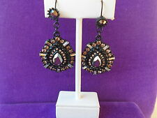 Betsey Johnson Authentic NWT Mixed Black Faceted Bead TearDrop Earrings