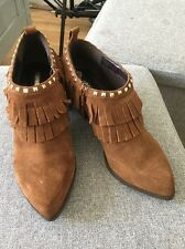 Suede Brown Fringe Women's Ankle Boot Size 5