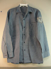 GENUINE WW2 WWII MILITARY USN US NAVY COTTON CHAMBRAY DENIM WORK SHIRT VINTAGE