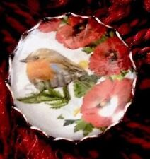 Vintage Style Little Robin Bird Red Poppy Collectors Scottish Hand Made Brooch