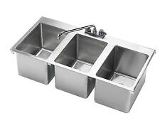 "KROWNE METAL 3 COMPARTMENT DROP-IN HAND SINK W/ 12"" SPOUT FAUCET NSF - HS-3819"