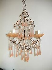 ~c 1920 French Pink Opaline Drops  & Bobeches Crystal Swags Murano Chandelier~