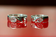 jem: LOVER's HEART DIAMOND WEDDING RINGS in FINE SILVER