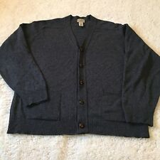 LL Bean Heather Blue Cardigan Button Up Sweater Lambswool Scotland Wool Size Med