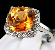 4.37cts Genuine Padparadscha Quartz 925 Solid Sterling Silver Ring