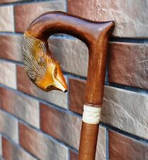 FOX Cane Walking Stick Wooden Handmade Wood Carving Exclusive Gift=)