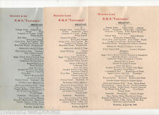 R. M. S. Tuscania CUNARD LINE 3 Breakfast Menus 1930 Minced Veal on Toast etc.