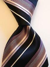 BEAU BRUMMEL Men's 100% Silk Necktie Classic Hand Made STRIPED Black/Purple EUC