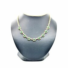 14K Yellow Gold 2.70Ct Round Cut Diamond And Emerald Collar Necklace