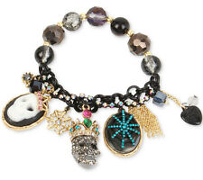 BETSEY JOHNSON Skeletons After Dark Two-Toned Skull Multi-Charm Stretch Bracelet
