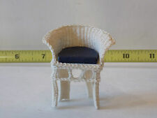 Dollhouse Miniatures  Wicker Chair Artist Signed Handmade Cushion Library Garden