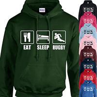 EAT, SLEEP, RUGBY HOODIE ADULT/KIDS - PERSONALISED - TOP TOUR GIFT XMAS SPORT