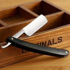 Men Folding Steel Straight Edge Black Wood Handle Barber Razor Shaving Kinfe