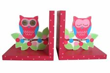 Sasse & Belle Pink Owl on a Branch Wooden Bookends - Girls Birthday gift idea