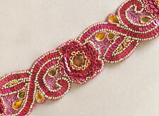 Hand-Beaded Trim. Sequins & Gems. Pink & Gold. Traditional Craftsmanship