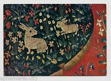 "MODERN POSTCARD - ""Rabbits & Flowers"" from a tapestry, Soho Gallery card"