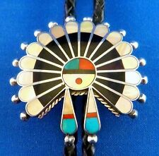 Vintage Zuni Inlay Sunface BOLO SIGNED Victoria Unkestine Sterling bola tie