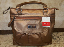 """RELIC: Bronze Colored Faux Leather Shoulder Bag 13.5""""W x 12""""H NWT MSRP$58."""