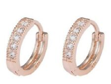 14K ROSE GOLD FILLED CZ CRYSTAL HUGGIE HOOP EARRINGS