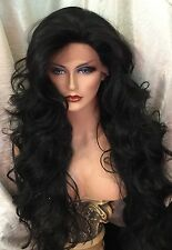 "UNBELIEVABLY BEAUTIFUL 32"" Of Wavy, Black, HH Blend, Swiss LACE FRONT Wig!"