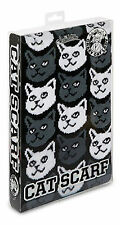 """Cat Scarf ~ Grey and White Cats on Black Background soft-knit acrylic 71"""" long"""