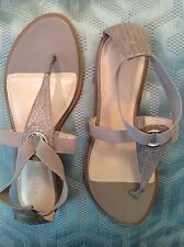 Calvin Klein Womens Ureca Thong Sandals Gray-Taupe Leather and Elastic Size 10 M