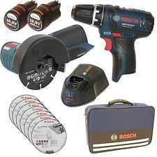 Bosch Akku Winkelschleifer GWS 10,8+Akkuschrauber GSR 10,8+2x 2,5AH+Lader+Tasche