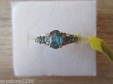 Teal Kyanite & White Zircon Ring Platinum Overlay Sterling Silver Sz 5, 8 Option