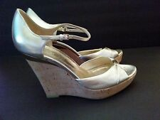 Auth Gucci Gold Metallic Leather Ankle Strap Cork Wedges Platforms Size 9.B