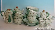 Antique Crown Staffordshire Tea Breakfast Set Green Enamel Flower 1920 England