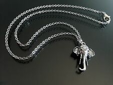 "Silver India Elephant Pendant Necklace on Thin 16"" Stainless Steel Chain"