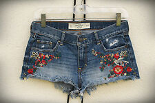 ABERCROMBIE&FITCH Hot Mini Denim Shorts Embroidered Hippie Flower Child 0,1,2,3