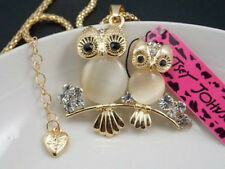 Betsey Johnson shiny Rhinestone Opal owl pendant Necklace # F193B
