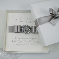 Luxury Silver 25th Wedding Anniversary Personalised Handmade Boxed Card