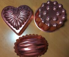 LOT OF 3 Vintage COPPER CAKE PANS HEART JELLO MOLDS BAKING WALL DECOR PRE-OWNED
