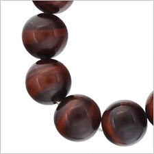 "13 Red Tiger's Eye Round Beads 14mm 7"" #81046"