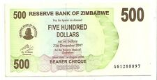 Zimbabwe 500 dollars 2006 bearer cheque   FDS  UNC    pick 43    lotto 3607