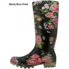 WOMEN FLORAL PRINT RUBBER RAIN BOOTS  6 7 8 9 10