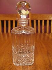 Gorgeous Signed Atlantis Crystal Liquor Decanter Diamond & Vertical Cuts Stopper